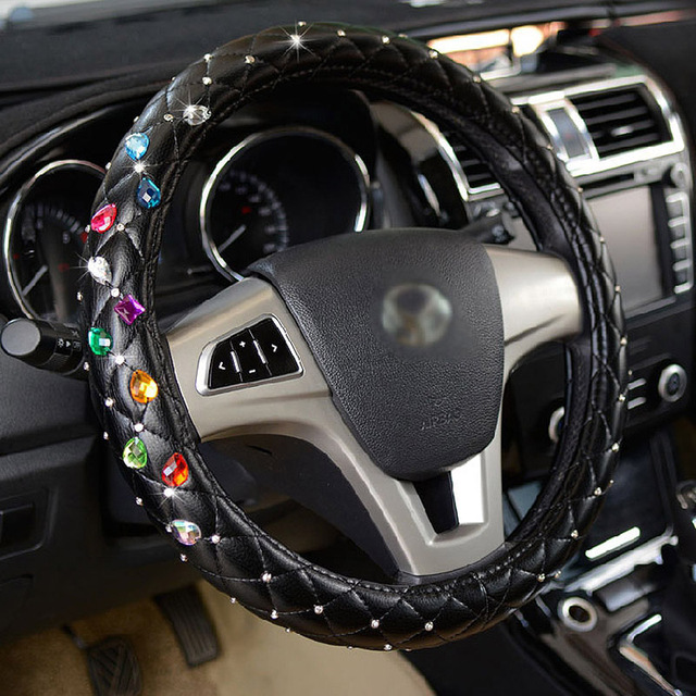 Luxury Genuine Leather Car Steering Wheel Cover for Women Girls Crystal Rhinestone Steering