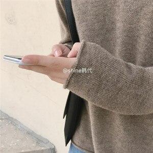Image 5 - Cachemire Lavorato A Maglia Pullover Donna Maglione Con Cappuccio 2 Colori di Stile Coreano Caldo di Vendita di Modo Pullover Femminile di Lana Maglieria Vestiti Magliette e camicette