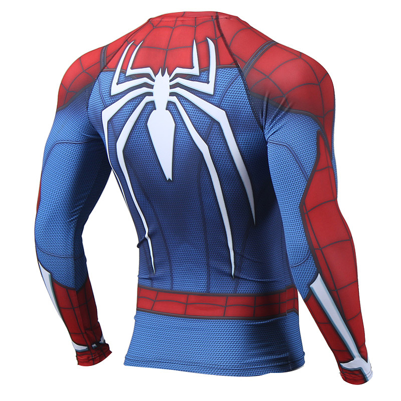 Spiderman 3d printed men compression raglan long sleeve shirts for Compressed promotional t shirts
