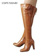 섹시한 하이힐 무릎 부츠 여성 허벅지 높은 부츠 숙녀 가을 겨울 긴 부츠 신발 Cuissardes Femme Haut Talon