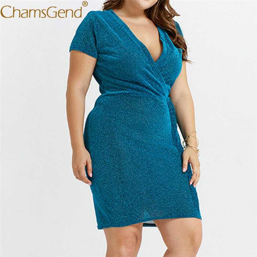 Сексуальное женское платье-Карандаш OL с v-образным вырезом, женское летнее платье-туника с коротким рукавом, однотонное платье для работы, женские платья XL, 2XL, 3XL 90514