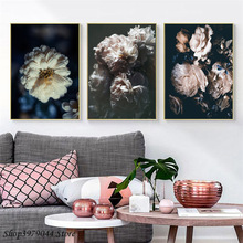 цена на Scandinavian Style Canvas Pink Flowers Paintings Wall Art Nordic Poster And Prints Canvas Pictures Decoration Home Unframed