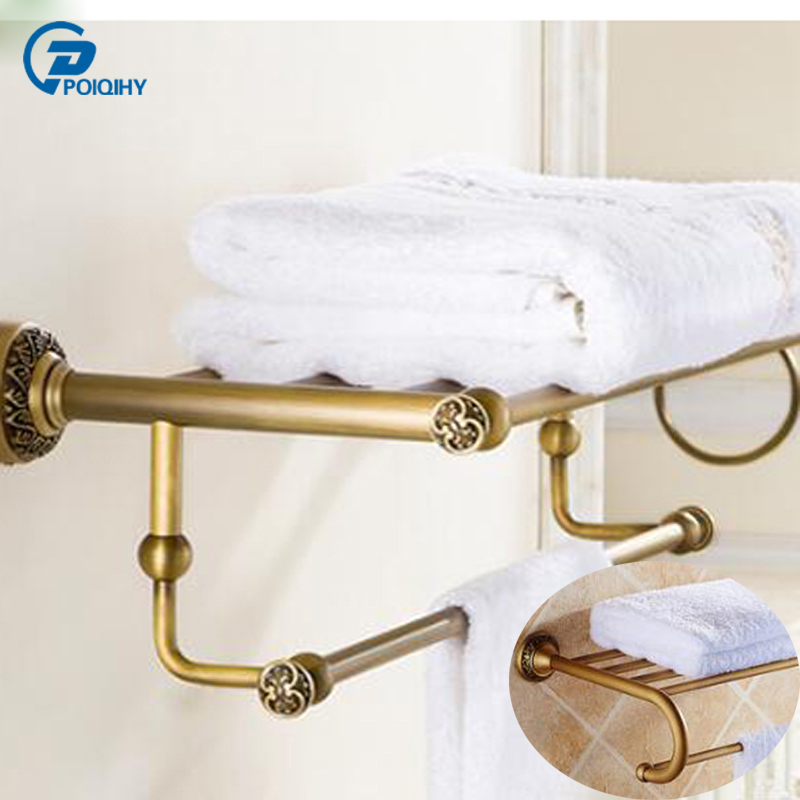 POIQIHY Fashion Antique Brass Towel Rack Shelf Luxury Bath Towel Holder Toilet useful bathroom accessories towel rings luxury crystal brass gold towel ring towel holder bath towel bar bathroom accessories home decoration useful hk 23
