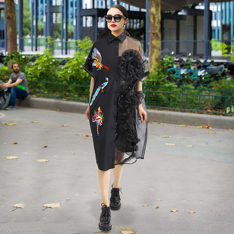 SHENGPALAE 2018 New Autumn Dress Fashion Turn-down Collar Short Sleeve Embroidery Stitching Lace Perspective Women Dress FA961