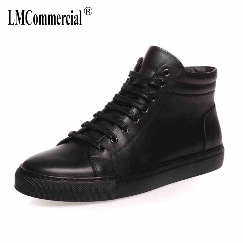 winter autumn warm leather shoes boots men British casual shoes men's Martin boots male Leisure all-match cowhide cashmere 2017 new autumn winter british retro men shoes zipper leather breathable sneaker fashion boots men casual shoes handmade