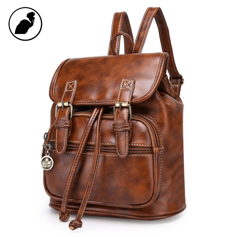ETONWEAG Brands PU Leather Schoolbag Backpack Brown Vintage School Bags For Women 2017 Zipper Mini Travel Luggage Back To School etonweag brands cow leather schoolbag backpack men brown vintage school bags preppy style travel laptop bag fashion luggage