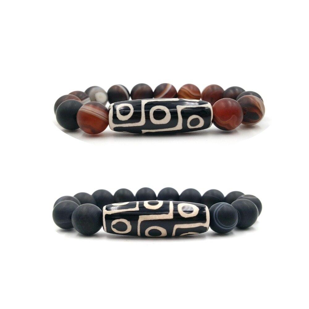 Lii Ji 9 Eye's DZI  Agate Beads Matte Brown Or Black Striped Agate 12mm Beads Bracelet For Men Women