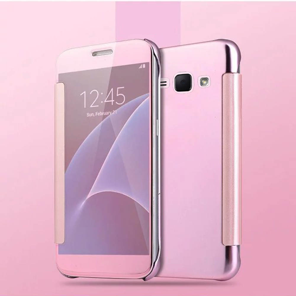 Hot Case Cover Flip Clear View Transparent Electroplating Hard For Samsung Galaxy A5 A3 A7 J1 J5 J7 S6 S7 Edge Smart Mirror