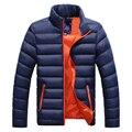 Inverno Quente Para Baixo Casaco Homens Manga Longa Gola Suave jaqueta Casual Zipper Homens Cor Sólida À Prova de Vento Parka Sobretudo Tops W0