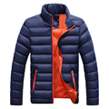 Winter Warm Down Coat Men Long Sleeve Stand Collar Soft Jacket Casual Zipper Windproof Parka Men Solid Color Overcoat Tops W0
