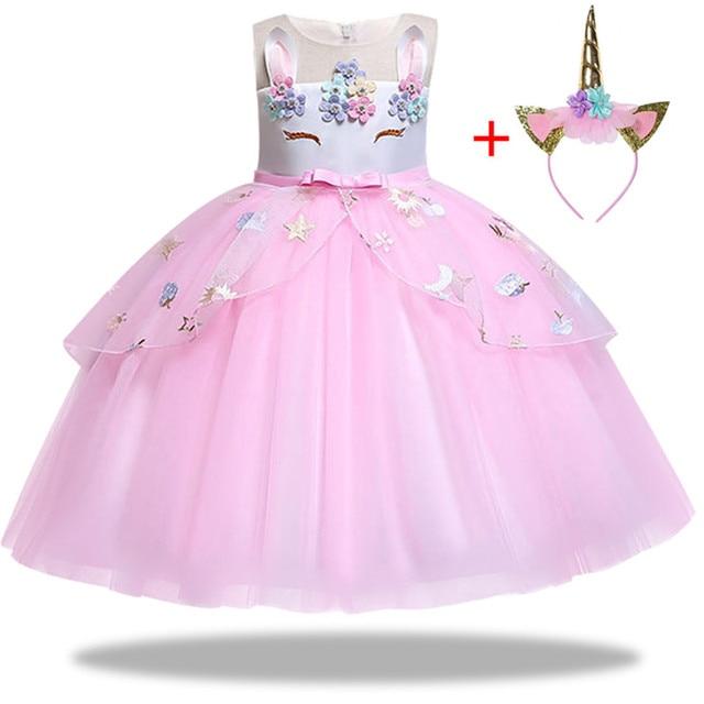 4cb03c71a7 Dzieci jednorożec sukienka dla dziewczynek haft kula z kwiatów suknia dla dzieci  księżniczka sukienki na stroje