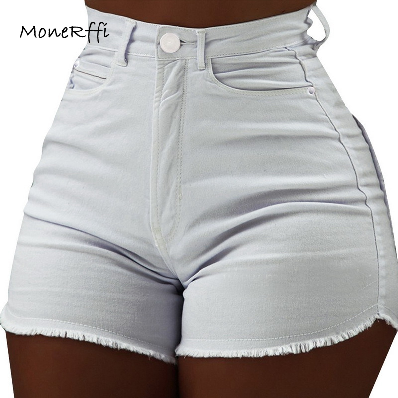 MoneRffi Women's Denim Shorts Womens Clothes High Waist Jeans Summer Slim Fashionable Short Trousers pantalon corto cintura high(China)
