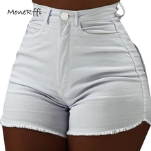 88ff86d05b MoneRffi Women's Denim Shorts Sexy High Waist Jeans Summer Slim Casual Short  Pants Fashionable Streetwear spodenki
