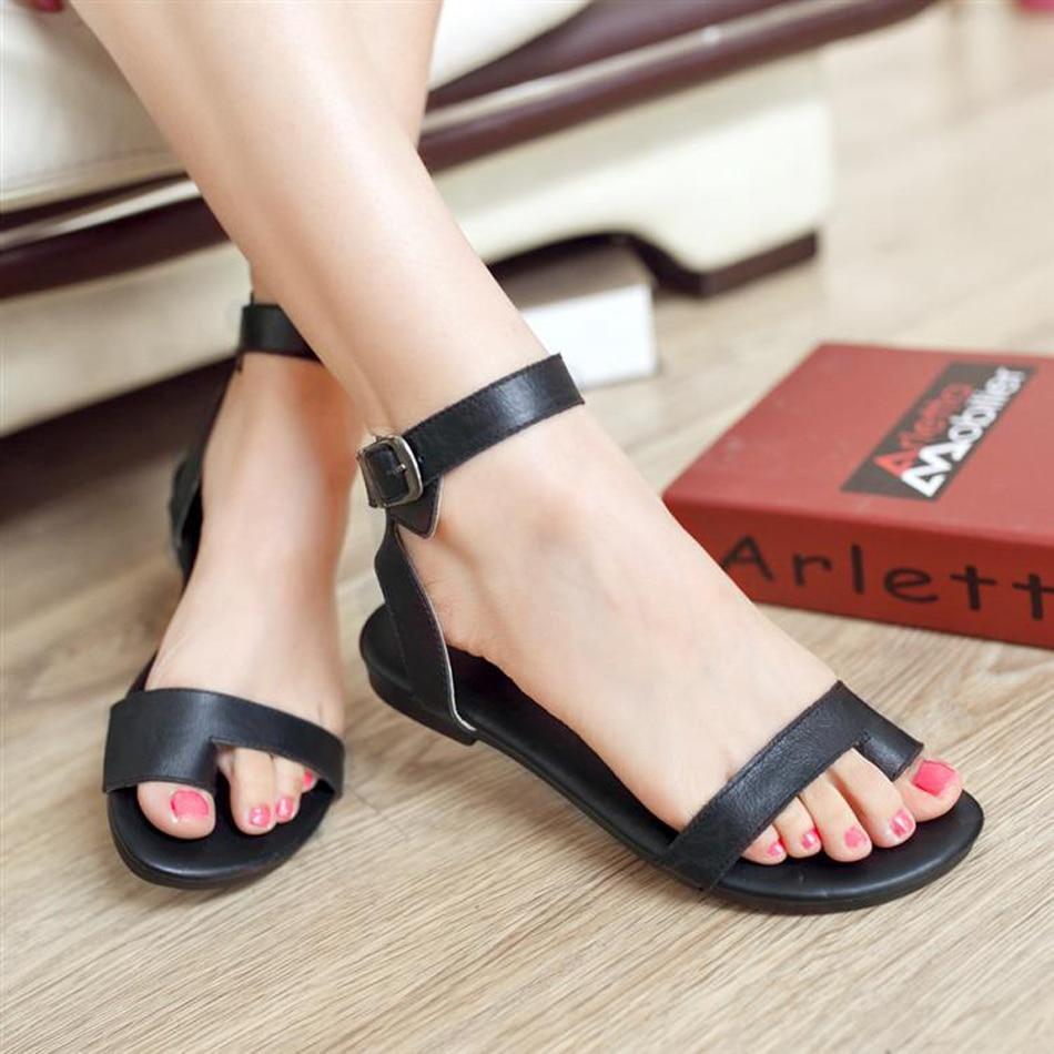 New Genuine Leather Women Sandal Fashion Ankle Strap Flip -2003