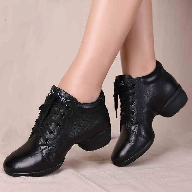 ФОТО Dance shoes sports women leather shoes in adult winter square with modern women soft bottom woman shoes dancing sailor sneaker