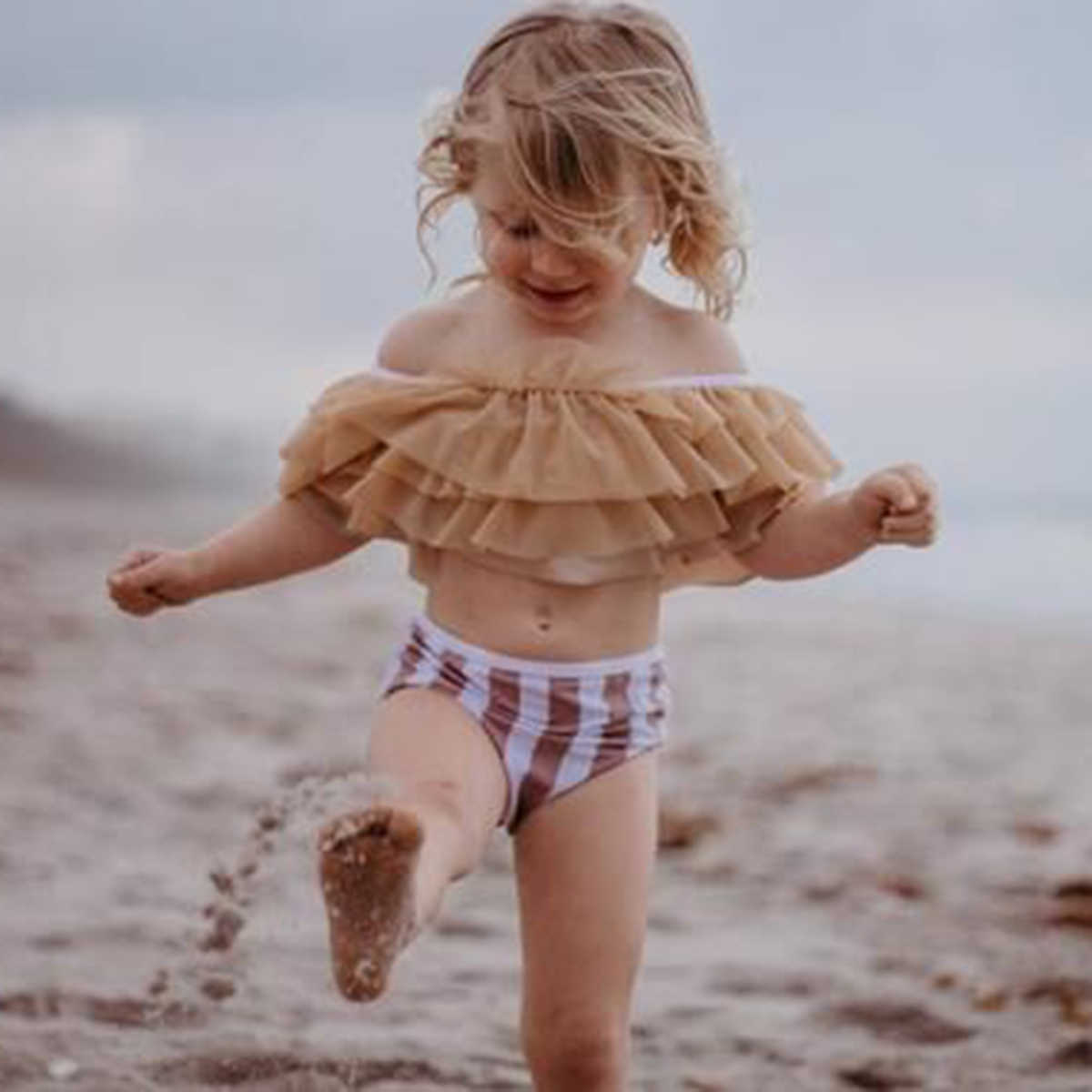 2019 nuevo precioso niño chico bebé las niñas amarillo Bikini de una pieza trajes de hombro traje de baño