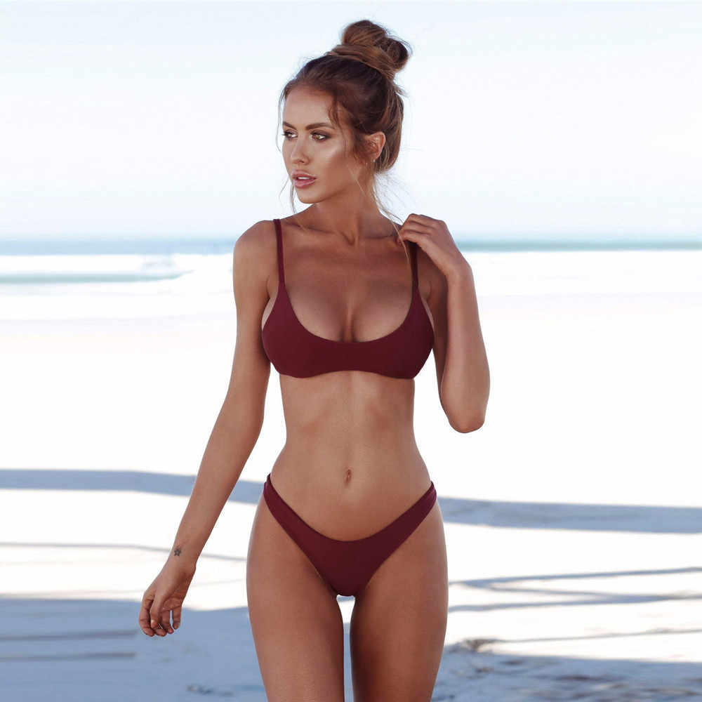 ee84a95978 Simple Solid Color Women Bikini 2019 Bandage Padded Bra Sexy Tankini Two  Piece Suit Summer Beach