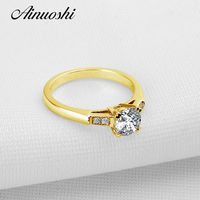AINUOSHI 10k Solid Yellow Gold Wedding Ring 1 CT Simple Design Engagement Fine Jewelry Simulated Diamond
