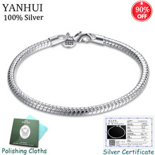 Sent Certificate! Original 925 Solid Silver Charm Bracelets for Women Smooth Snake Bone Bracelets Wedding Gift Jewelry CB001(China)