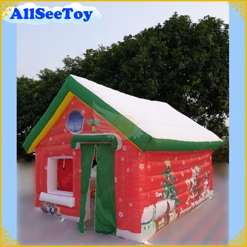Inflatable Santa House Christmas Inflatable Outdoor Inflatable Santa Claus for Christmas Decoration Good Quality adult christmas santa claus costumes flocking rabbit fur fancy cosplay santa claus clothes good quality costume christmas suit