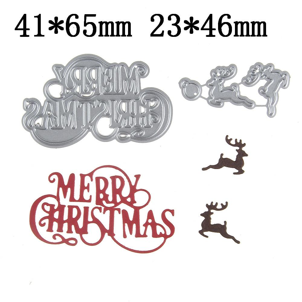 Hamyho Metal Cutting Dies Decor Marry Christmas Deer Frame Scrapbooking Paper Craft Dies Cut Create Stamp Embossing Card Stencil