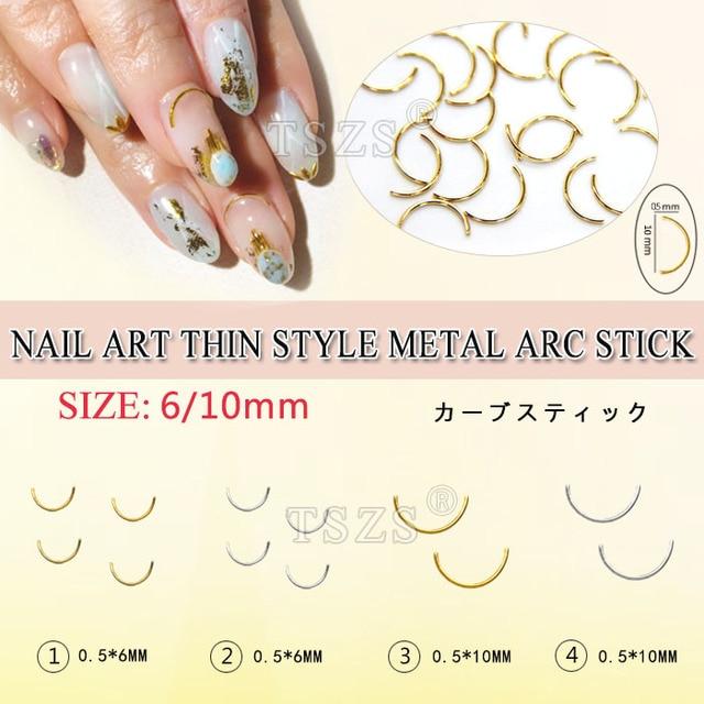 150pcs/lot Japanese style nail art thin design metal curve stick DIY ...