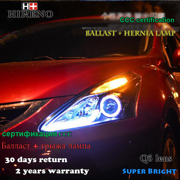 Hireno Headlamp for 2013-2015 Nissan Tiida Headlight Assembly LED DRL Angel Lens Double Beam HID Xenon 2pcs hireno headlamp for mercedes benz w163 ml320 ml280 ml350 ml430 headlight assembly led drl angel lens double beam hid xenon 2pcs