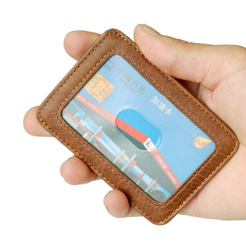 Fashion Head Layer Leather Credit Card Holder Men Male Card Sleeve Thin Mini Bus Cards Cover Retro Cowhide Simple Bag Packs