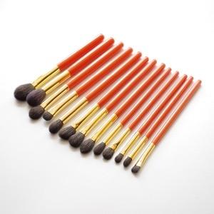 Image 5 - Professionele Handgemaakte Make Up Kwasten Kit Zachte Blauwe Eekhoorn Geitenhaar Oogschaduw Blending Brush Oranje Handvat Make Up Brush Set