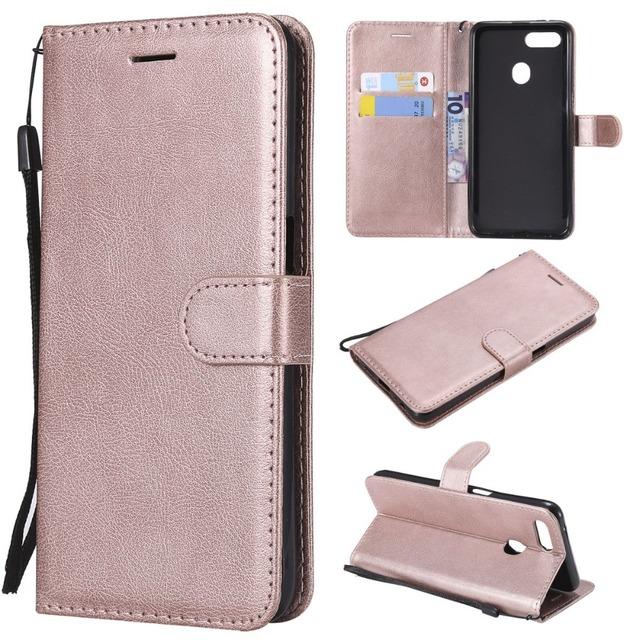 Coque Card Slot Leather Covers For OPPO A73 F5 F7 F9 R17 Solid Color Lovely Cases Shiny Book Capa Classic Mobile Phone Bags D06Z