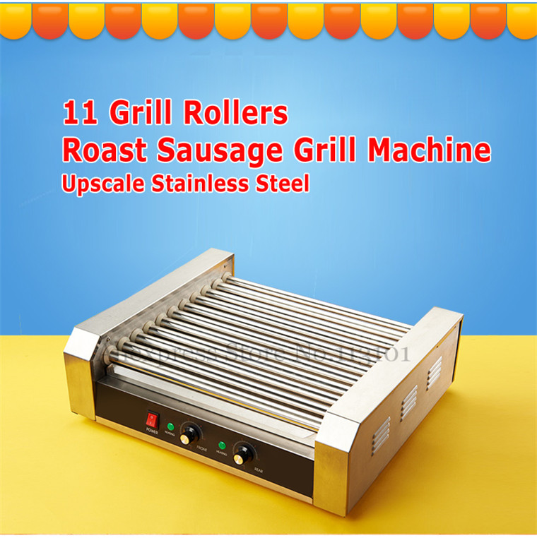 Hot Dog Grill Machine Roast Sausage Grill Maker Stainless Steel Hotdog Maker Cooker with 11 Rollers without Hood Cover