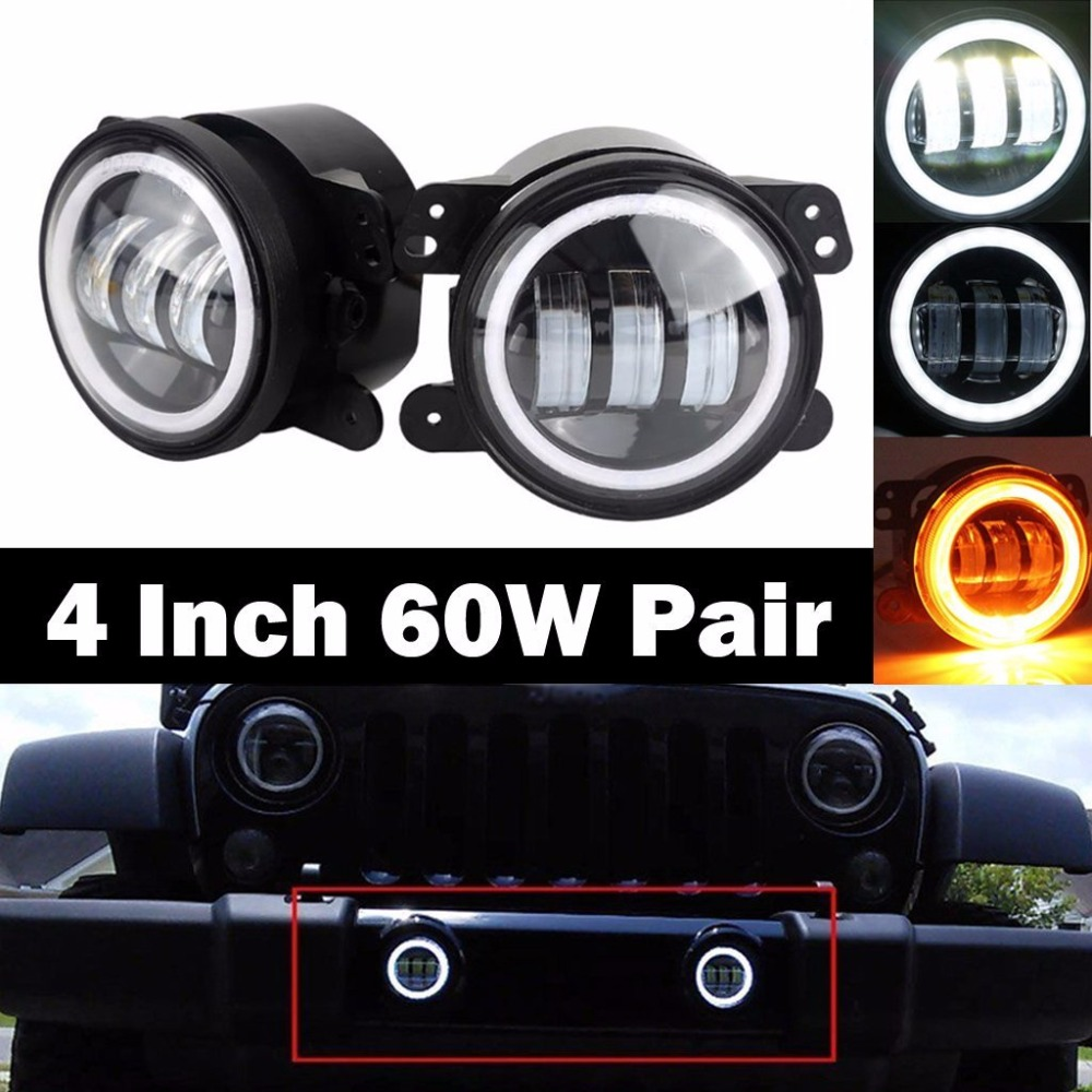 4 Inch LED Fog Lights 60W White Round Halo Ring DRL Angel Eye Amber Turn Signal for Jeep Wrangler JK LJ TJ 1