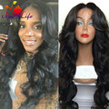6A Grade Heat Resistant Synthetic Hair Wigs with Baby Hair Black Hair Body Wave Glueless Synthetic Lace Front Wig Free Shipping