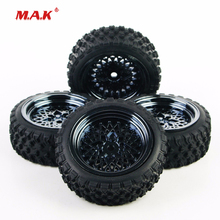 4Pcs 1/10 Scale Rubber Tires and Wheel Rim with 6mm Offset and 26mm Width fit HSP HPI RC Rally Racing Off Road Car Accessories 4x rc rally tires wheel rim pp0038 pp0487 for hsp rc 1 10 off road racing car rc accessories