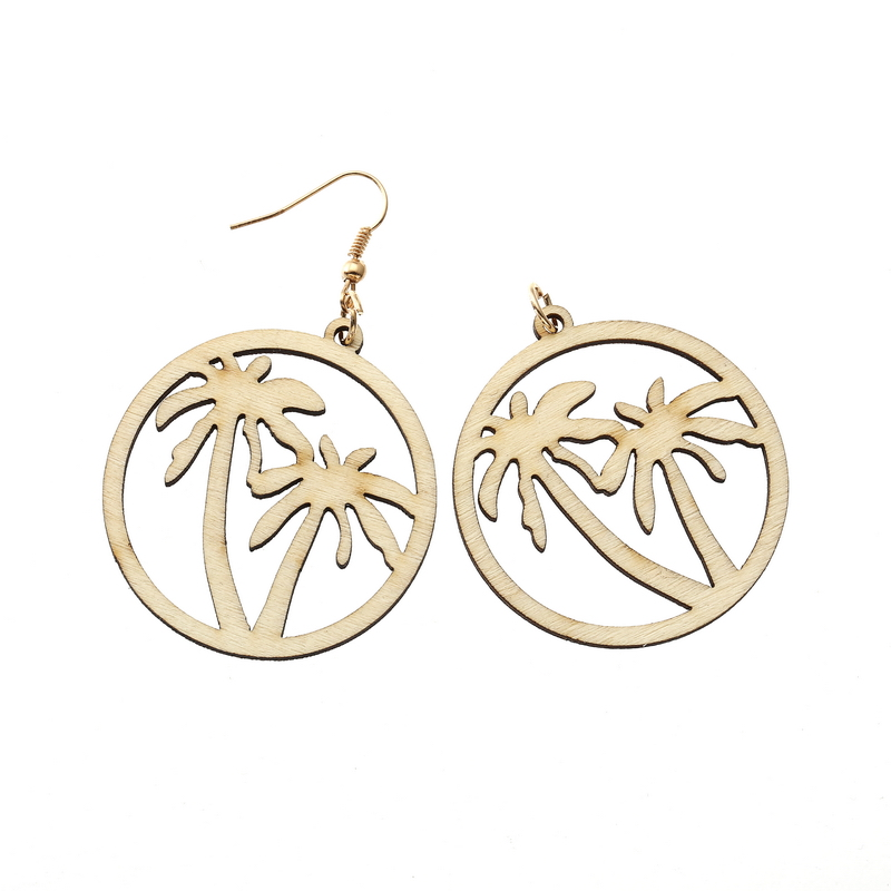 YULUCH 4 Color Natural Wood Pierced Coconut Tree Earrings For Woman Art Green Retro Girl Jewelry Party Birthday Gift