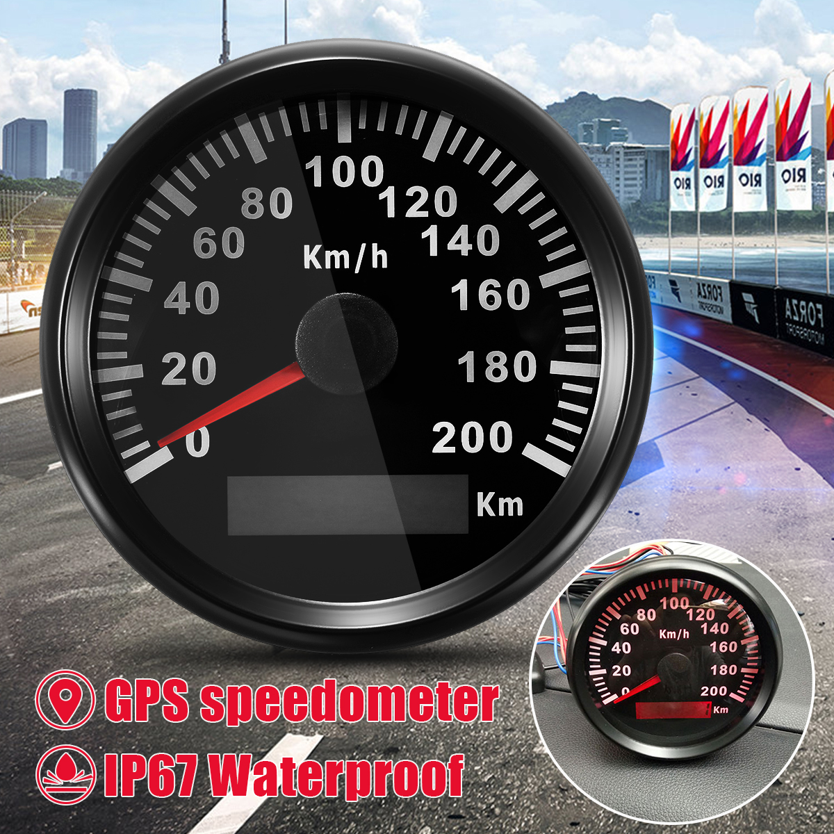85mm GPS Speedometer 200 KM/H Stainless GPS Speedometer Waterproof Digital Gauges Bike Car Truck Motor Auto With Backlight 100% brand new gps speedometer 60knots for auto boat with gps antenna white color