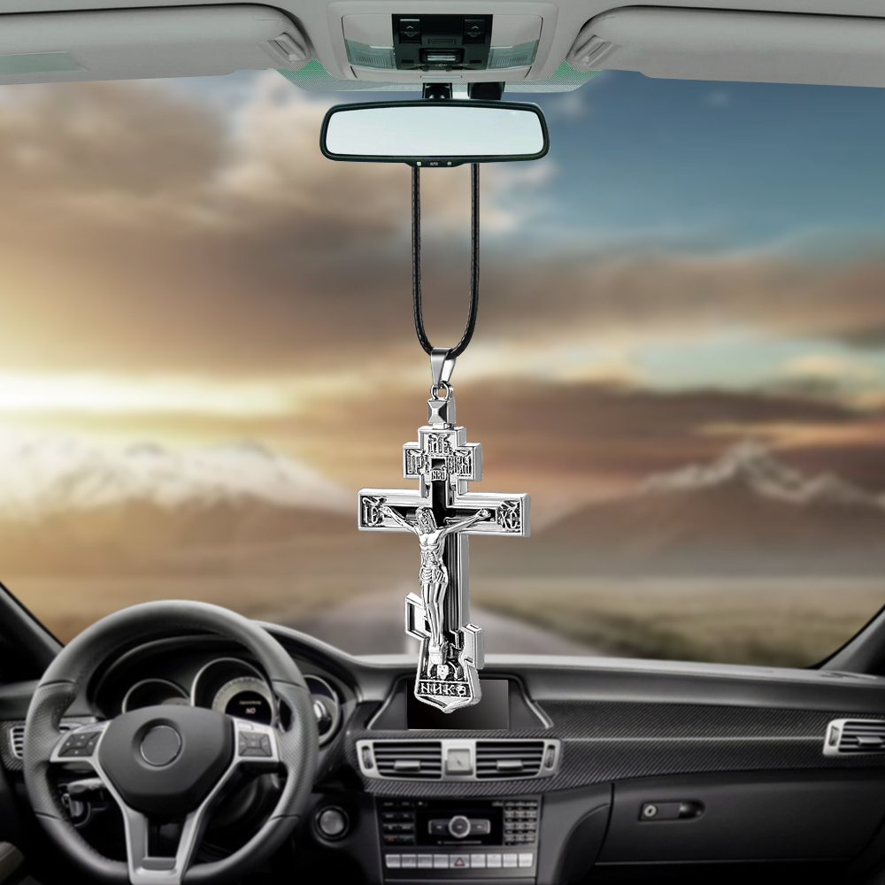 Charms Metal Jesus Crucifix Cross Car Rearview Mirror Decoration Hanging Pendant Automobiles Decor Ornaments Accessories Gifts car pendant cute helmet baymax robot doll hanging ornaments automobiles rearview mirror suspension decoration accessories gifts