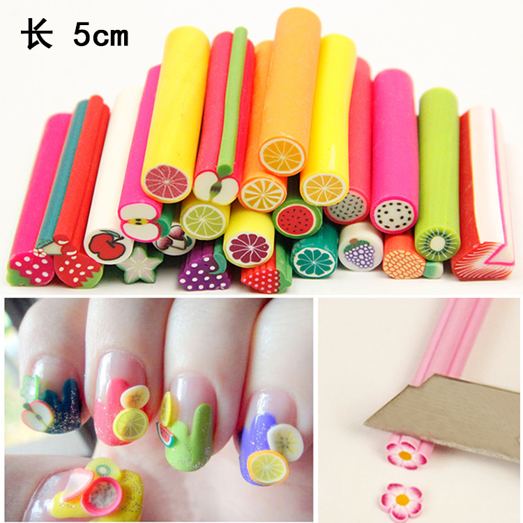 50pcs/pack cane polymer clay nail art Stickers 3D fruit Shape Cutted ...