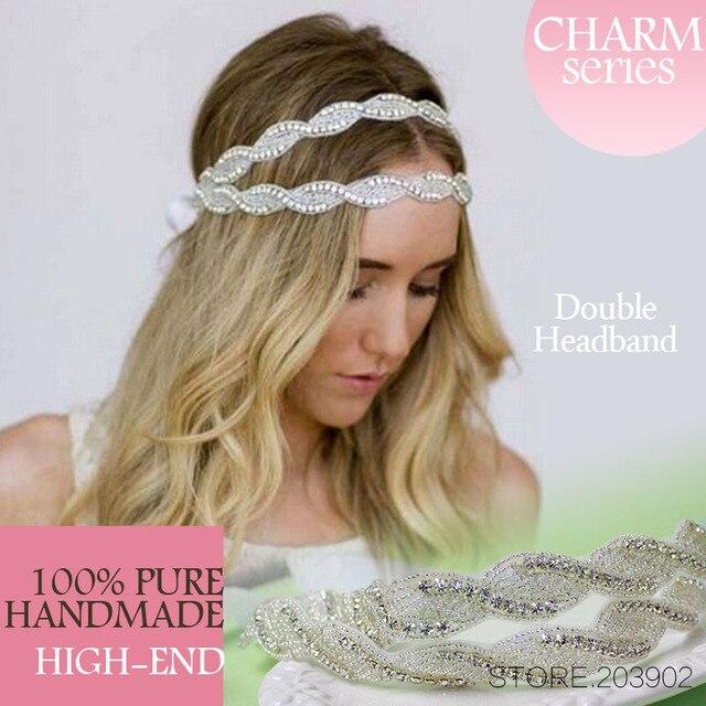 Euro Crystal Headband Wedding Double Rhinestone Bridal Headband