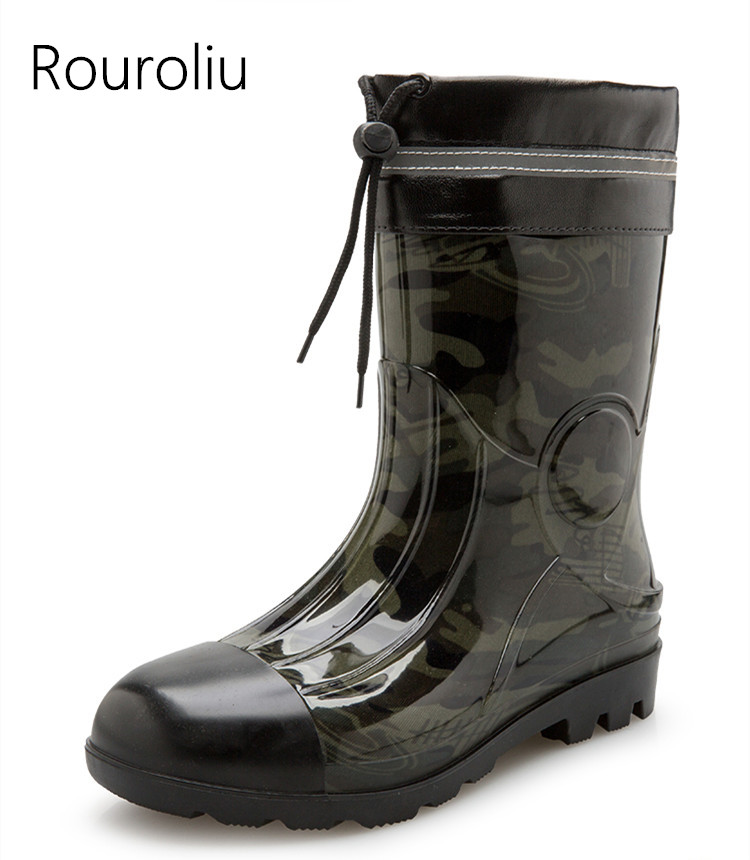 Rouroliu Men Autumn Waterproof Rain Boots Mid-Calf Water Shoes Man Wellies Non-s