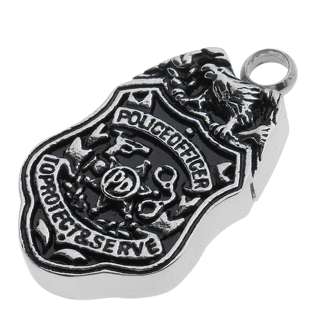 US $4 31 18% OFF|Cremation Ash Holder Urn Memorial Keepsake Badge Eagle  Shape Pendant with Police Office Letters Black And Silver-in Pendants from
