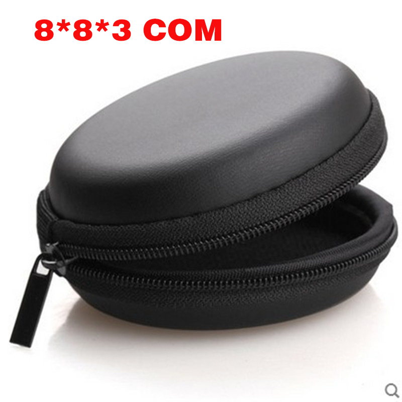 Portable Case for Headphones Case Mini Zippered Round Storage Hard Bag Headset Box for Earphone Case SD TF Cards Earphone