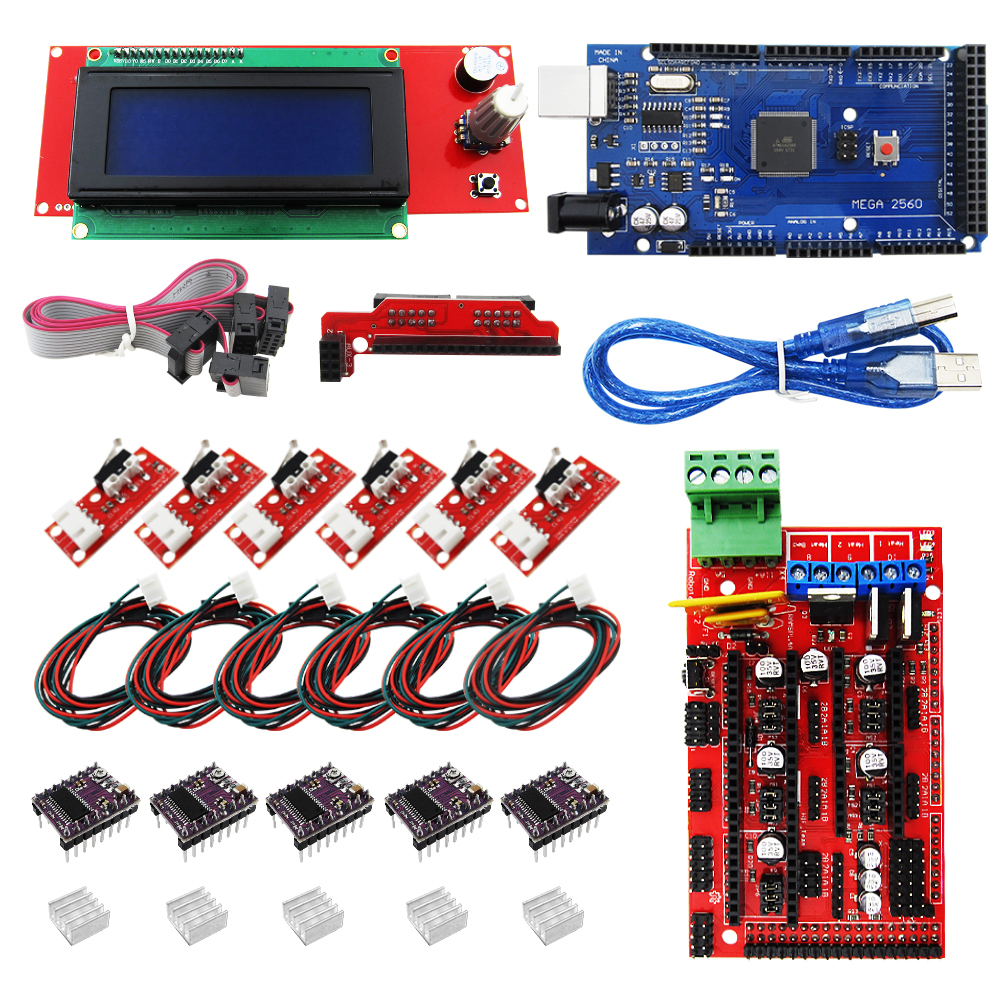 Reprap Ramps 1.4 kit + Mega 2560 +  2004 LCD Controller + DRV8825 + Mechanical Endstop+ Cables 3D Printer reprap ramps 1 4 mega 2560 heatbed mk2b 12864 lcd controller drv8825 mechanical endstop cables for 3d printer diy kit
