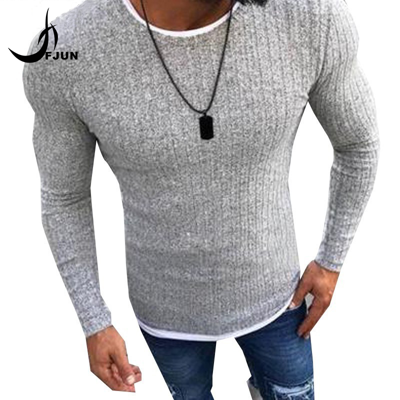 Men's Sexy Skinny Sweater 2018 Autumn Solid Knitted Pullover Thin Sweaters O-Neck Slim Fit Sweater Pullovers Plus Size S-5XL(China)