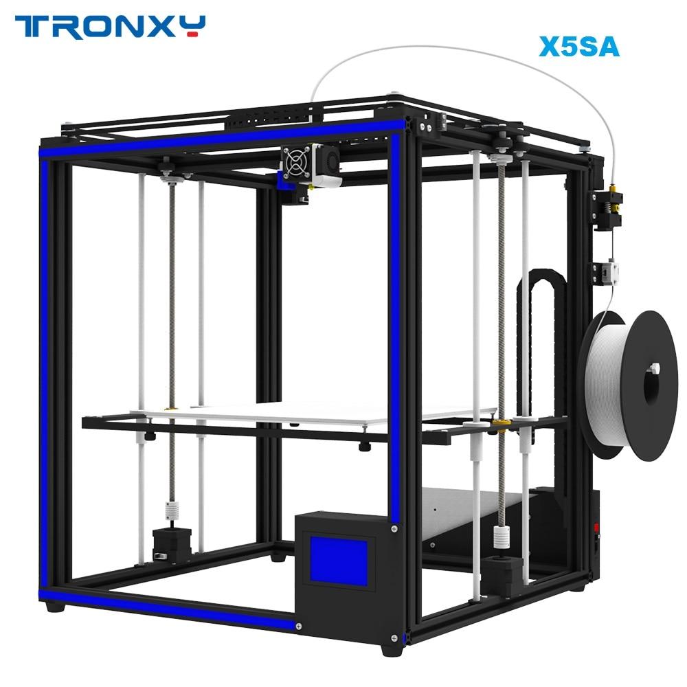 Offre Spéciale Tronxy X5SA 3D Imprimante DIY kit Full metal 3.5 pouces Tactile écran Haute précision Auto nivellement PLA filament comme cadeau