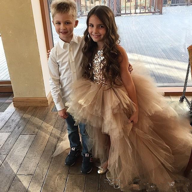 2019 Gold High Low Little   Girls   Pageant   Dresses   Appliqued   Flower     Girl     Dress   Tiered Tulle Kids Wedding Gowns