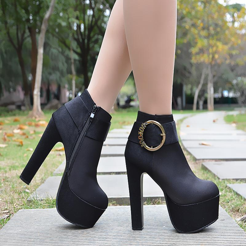 British style autumn and winter new 2017 high heel high boots Hit color high-top shoes Tide boots 14 cm shoes fall trendboots in europe and america heavy bottomed martin boots british style high top shoes shoes boots sneakers