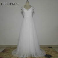 E JUE SHUNG White Vintage Lace Beach Wedding Dresses V Neck Cap Sleeves Sheer Back Buttons