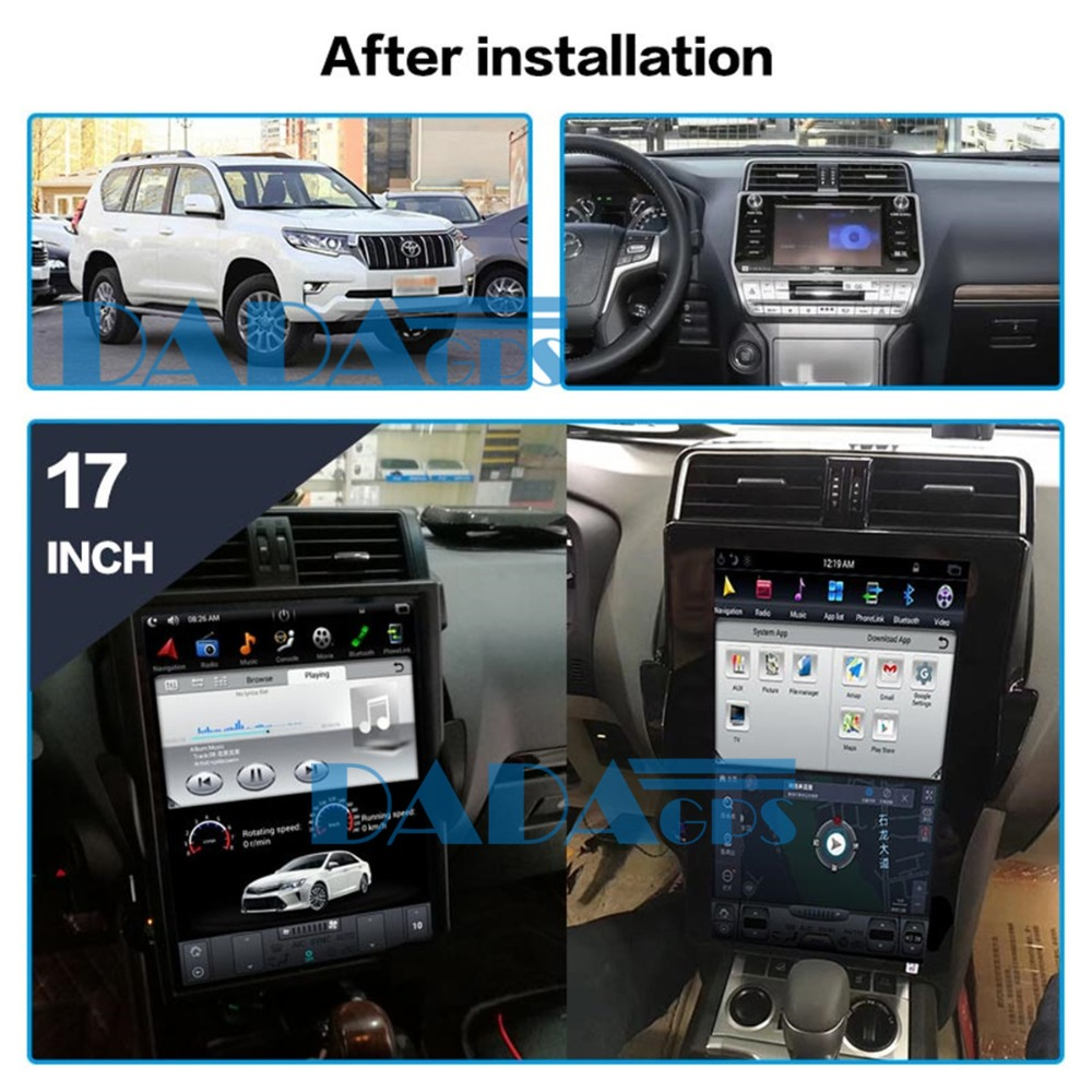 17 inch Tesla style Car GPS Navigation Head Unit Android6.0 Car DVD player GPS navigation for <font><b>TOYOTA</b></font> Land Cruiser Prado <font><b>150</b></font> <font><b>2018</b></font> image