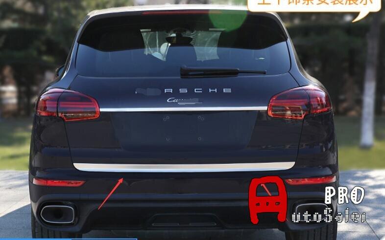 For Porsche Cayenne 2015-2016 ABS Chrome Matt Rear Fog Light Bumper UpPER Lamp Cover Trim 2pcs